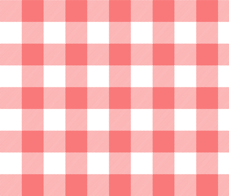 buffalo plaid 2in coral and white fabric by misstiina on Spoonflower - custom fabric