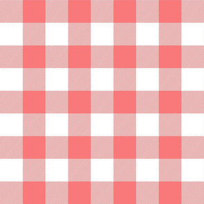 buffalo plaid 2in coral and white
