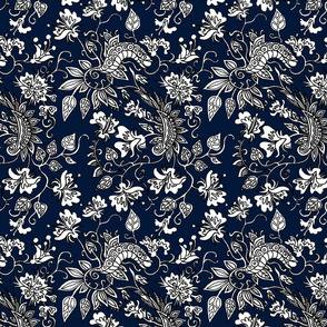 Queens Navy Floral Dress