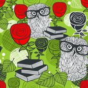 Owl in roses