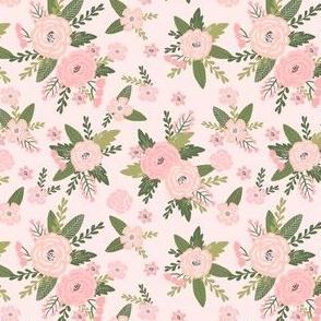 Pet Quilt D - floral coordinate - peach