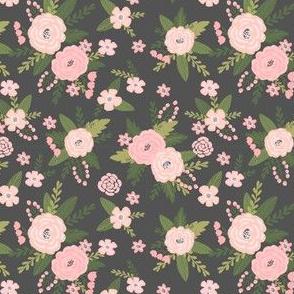 Pet Quilt D - floral coordinate - charcoal