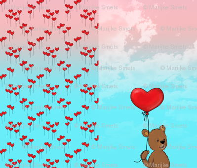 1 Yard PANEL - Little Bear with Balloon