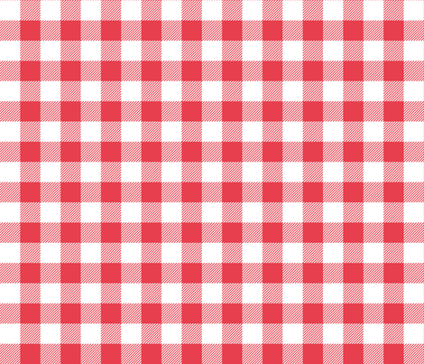 buffalo plaid 1in bold coral and white fabric by misstiina on Spoonflower - custom fabric