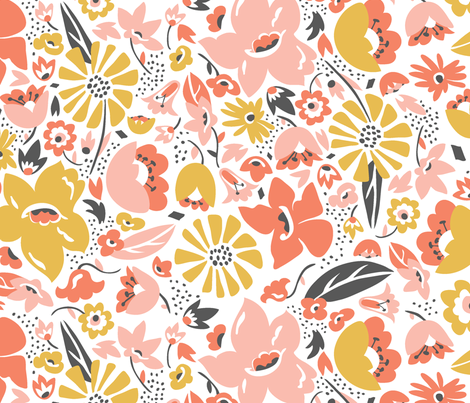 Betty - Floral Pink Blush Large Scale fabric by heatherdutton on Spoonflower - custom fabric
