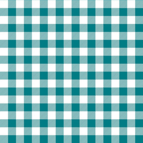 buffalo plaid 1in dark teal and white