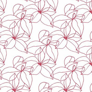 Floral Line Drawing in Red and White