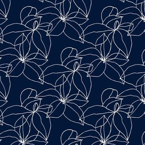 Floral Line Drawing in White on Navy