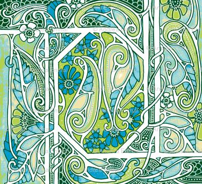Swirly Green Paisley Land