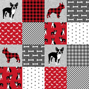 Boston Terrier cheater quilt - Pet Quilt A - patchwork, cheater quilt, dog blanket, baby blanket, crib blanket, red