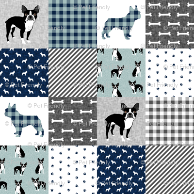 Boston Terrier cheater quilt - Pet Quilt B - patchwork, cheater quilt, dog blanket, baby blanket, crib blanket, blue