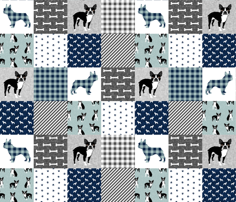Boston Terrier cheater quilt - Pet Quilt B - patchwork, cheater quilt, dog blanket, baby blanket, crib blanket, blue fabric by petfriendly on Spoonflower - custom fabric