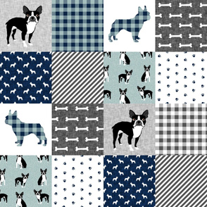 Boston Terrier cheater quilt - Pet Quilt B - patchwork, cheater quilt, dog blanket, baby blanket, crib blanket, blue