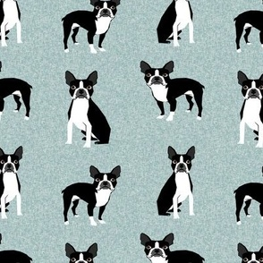 Boston terrier dog fabric - Pet Quilt B - blue