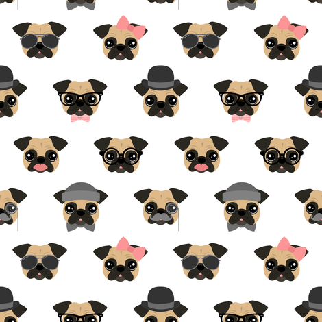 Pugs in Disguise fabric by jannasalak on Spoonflower - custom fabric