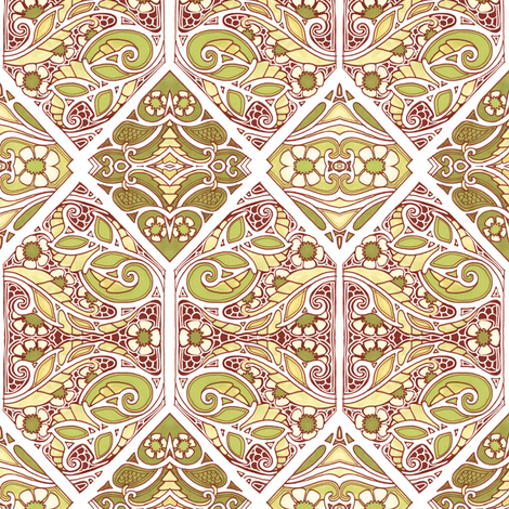 Nouveau Hexagon Meadow fabric by edsel2084 on Spoonflower - custom fabric