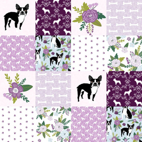 Boston Terrier Cheater Quilt - Pet Quilt C - dog quilt, wholecloth, crib blanket, nursery, baby blanket, dog blanket - purple