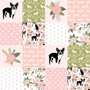 Boston Terrier Cheater Quilt - Pet Quilt D - dog quilt, wholecloth, crib blanket, nursery, baby blanket, dog blanket - peach