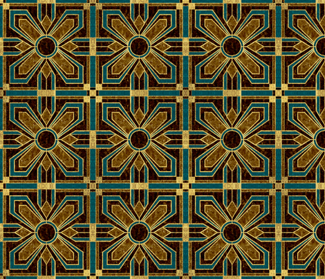 Art Deco Floral Tiles in Brown and Teal fabric by mel_fischer on Spoonflower - custom fabric