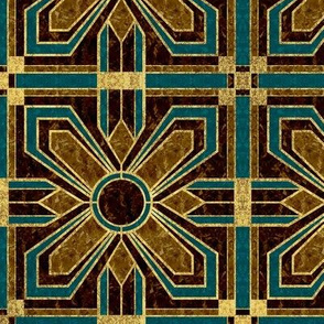 Art Deco Floral Tiles in Brown and Teal