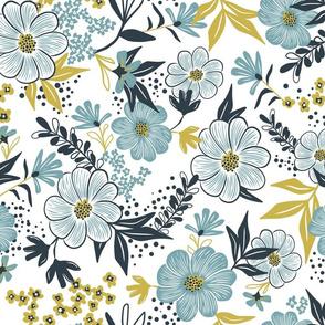 Harper Floral - Dusk Blue