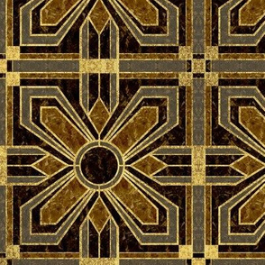 Art Deco Floral Tiles in Brown