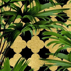 Palms on Quatrefoil Black Gold