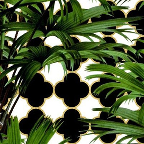 Palms on Quatrefoil Black White Gold
