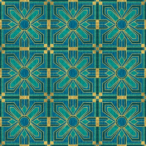 art deco tile in teal and blue