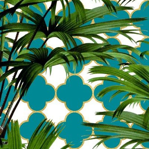Palms on Quatrefoil White Teal Gold
