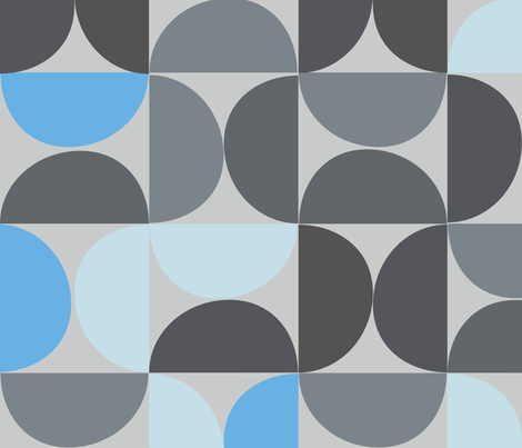 Mod Mood - Grey Skies - Large fabric by anna_bowen_studio on Spoonflower - custom fabric