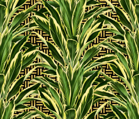 Palm on Stitch Black Gold fabric by wickedrefined on Spoonflower - custom fabric