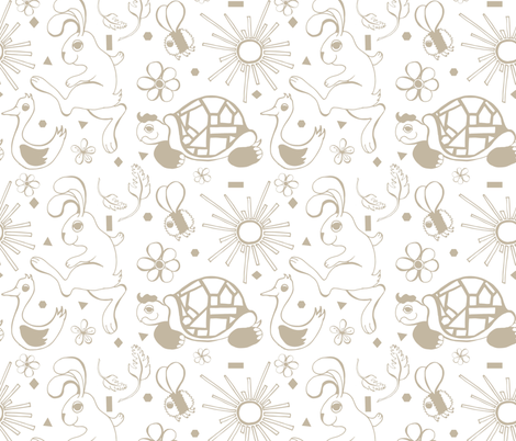 tortoise hare pattern 2 tile fabric by illustrating_louise on Spoonflower - custom fabric