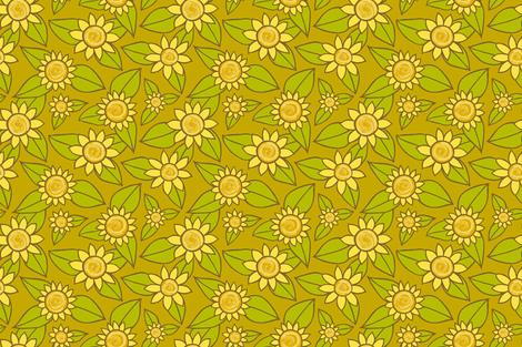 SUNFLOWER SMALL SCALE DESIGN fabric by kristin_nicholas on Spoonflower - custom fabric