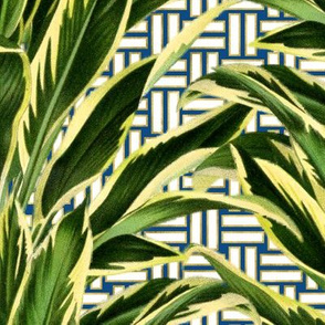 Palms on Stitch Blue White Gold