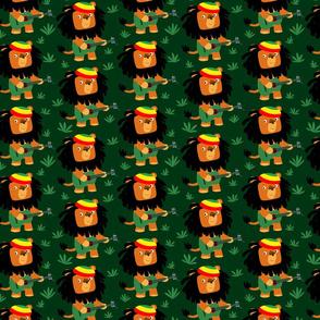 Dark Green Cute Cartoon Rastafarian Lion by Cheerful Madness!!
