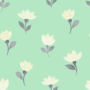 watercolor flowers on mint