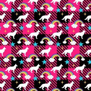 German Shepherd Pink Buffalo Plaid Small