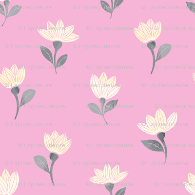 watercolor flowers on pink