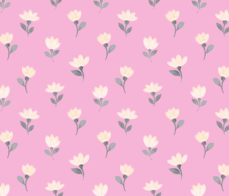 watercolor flowers on pink fabric by lapinecurieuse on Spoonflower - custom fabric