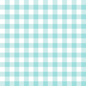 buffalo plaid 1in light teal and white