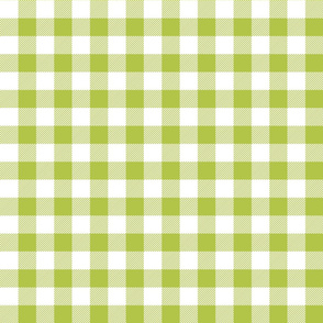 buffalo plaid 1in lime green and white