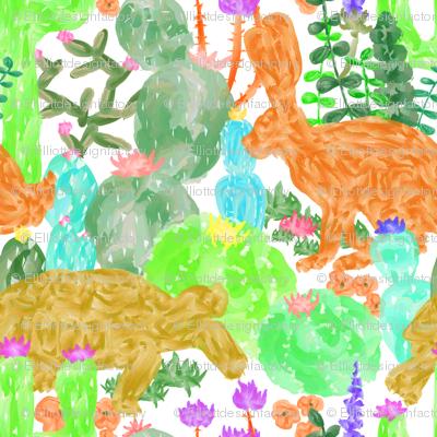 Desert Tortoise + Hare in Multi Watercolor