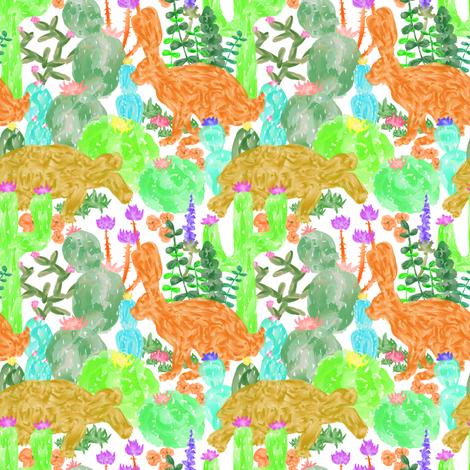 Desert Tortoise + Hare in Multi Watercolor fabric by elliottdesignfactory on Spoonflower - custom fabric