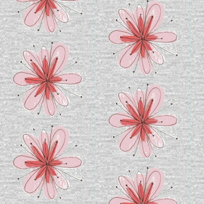 Pink Floral on Gray Large Scale