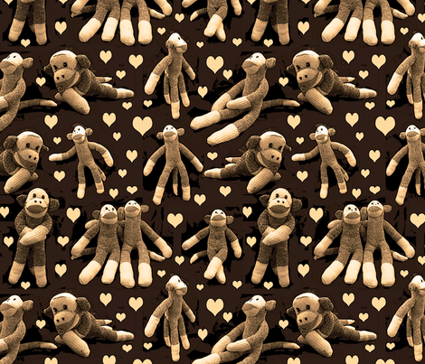 monkey love sepia fabric by leroyj on Spoonflower - custom fabric