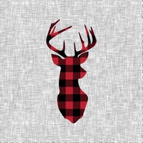 """6"""" buffalo plaid buck quilt block with cut lines C18BS"""