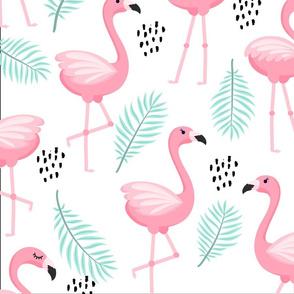 pink flamingos with aqua leafs