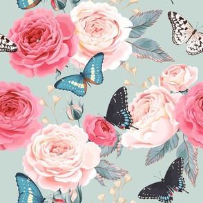 butterfly floral pink roses aqua  teal mint background