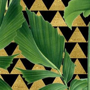 Palm on Checker Triangle Black Gold